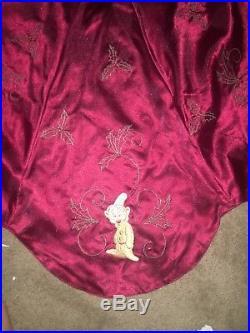 Rare Vintage Disney Christmas Tree Skirt 54 Embroidered Burgundy Dumbo