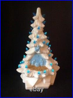 Rare Vintage Holland Reward Mold Lighted Nativity 14 Ceramic Christmas Tree