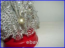 Rare Vintage Miniature Aluminum Silver Christmas Tree Revolving Musical