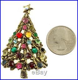 Rare Vintage Multi Color Rhinestone Gold Tone Hollycraft Christmas Tree Pin 2.25