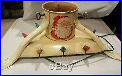 Rare Vintage Noma Christmas Tree Stand Pressed Steel Lighted Santa Claus Holy