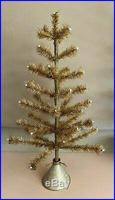 Retro Christmas Holiday Feather Tree Vintage Tan Gold Bethany Lowe Cone Base