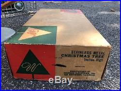 Retro Mid-century Mod Vintage Warren Stainless Metal Silver Christmas Tree