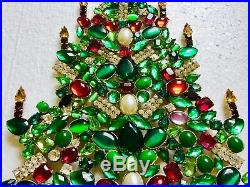Rhinestone Christmas Tree Stand Czech Vintage Antique Jewellery Bohemian