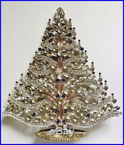 Rhinestone Christmas Tree Stand Czech Vintage Bohemian Glass Jewely Juliana