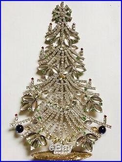 Rhinestone Christmas Tree Stand Czech Vintage Estate Jewelely Handmade Bohemian