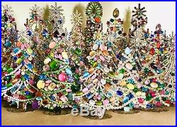 Rhinestone Christmas Tree Stand Czech Vintage Estate Jewellery Bohemian Jewel