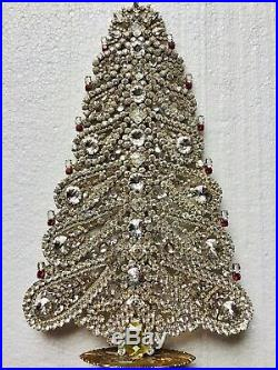 Rhinestone Christmas Tree Stand Czech Vintage Estate Jewellery Gablonz