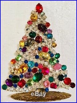 Rhinestone Christmas Tree Stand Czech Vintage Estate Jewellery Gablonz Art Deco