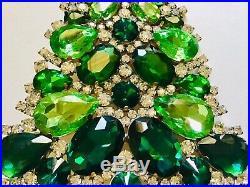 Rhinestone Christmas Tree Stand Czech Vintage Estate Jewellery Glass Bohemian