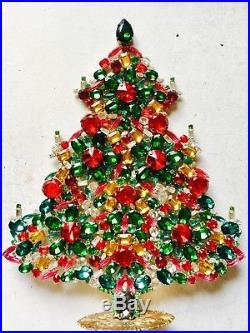 Rhinestone Christmas Tree Stand Czech Vintage Estate Jewellery Handmade