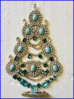 Rhinestone Christmas Tree Stand Czech Vintage Estate Jewellery Handmade Art Deco
