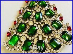 Rhinestone Christmas Tree Stand Czech Vintage Estate Jewellery Handmade Juliana