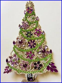 Rhinestone Christmas Tree Stand Czech Vintage Estate Jewelry Bohemian