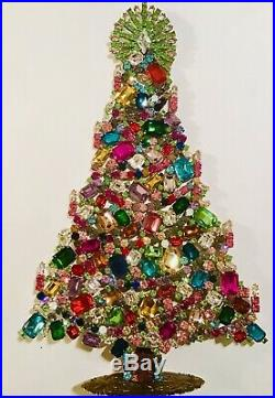 Rhinestone Christmas Tree Stand Czech Vintage Estate Jewelry Handmade