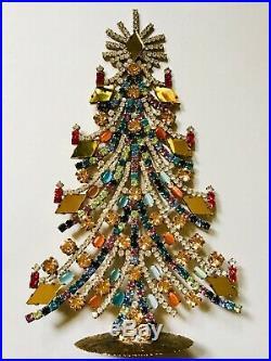 Rhinestone Glass Christmas Tree Stand Czech Vintage Jewellery Handmade Bohemian