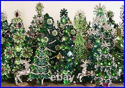 Rhinestone Xmas Tree Stand Czech Glass Vintage Jewellery Handmade Bohemian