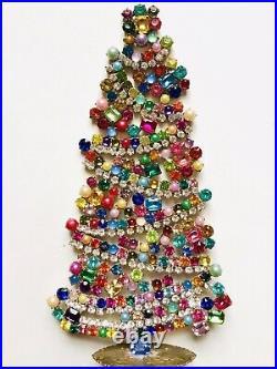 Rhinestone Xmas Tree Stand Czech Vintage Glass Jewellery Handmade Bohemian
