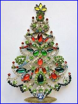 Rhinestone Xmas Tree Stand Vintage Estate Jewellery Antique Jewelry Decoration