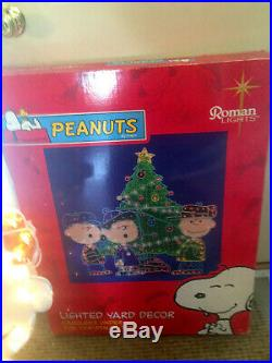 Roman Lighted Vtg Christmas SNOOPY PEANUTS TREE LINUS Outdoor Decoration 48x48