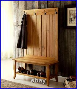 Rustic Hall Tree Entryway Coat Rack Bench withShelf Antique Pine Finish Solid