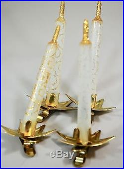 SET of 24 Vintage ITALIAN Art Glass WHITE CANDLE Clip On Christmas Tree Ornament