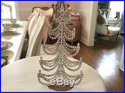 SHABBY Vtg Czech Rhinestone Tree Christmas Decoration Swags HOLIDAY JEWELED