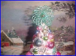 SHabby 20 Fancy Pink Bottlebrush Xmas Tree Mica Flocked & Vtg Antique Ornaments