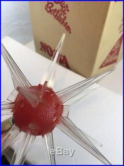 SPUTNIK Atomic STAR OF BETHLEHEM CHRISTMAS TREE TOPPER STAR Vintage Works with Box