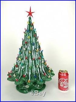 STUNNING Retro Vtg 22 CERAMIC Christmas TREE Decoration LAMP Color Lights MINT