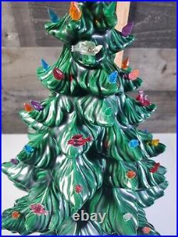 STUNNING Vintage 1970's 24 Green 4 Piece Ceramic Christmas Tree Atlantic Molds