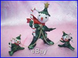 SUPER RARE VTG Japan Christmas Tree Holly Man & Kids on Chain Set