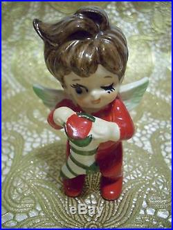 SUPER RARE VTG Japan Lefton Christmas Girl Boy Angel Holds Santa Doll & Tree