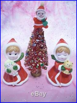 SUPER RARE VTG Japan Napco Christmas Girl Boy Angel Holds Santa Doll & Tree