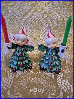 SUPER RARE VTG Lefton Christmas Tree Holly Girl Angels Rhinestones Figurine