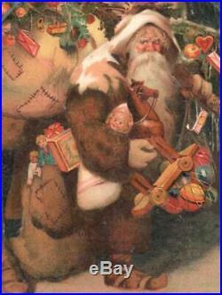 Scarce Vintage Christmas Postcard Santa Claus Tree Toys Patched Sacks