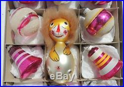 Set Vintage PINK Shiny Brite Italy LION Mica Mercury Glass Xmas Tree Ornaments