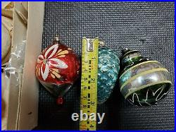Set of 12 Glass Christmas Ornaments with Box Vintage Tree Decorations