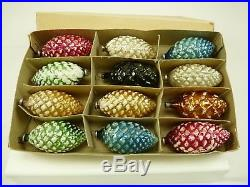 Set of 12 Vintage Multi Color Glass Pine Cone Christmas Tree Ornaments