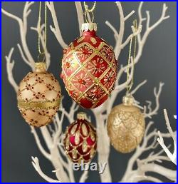 Set of 4 Vintage Glass Baubles Red Gold Luxury Christmas Tree Decorations Boxed