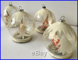 Set of 4 Vintage Glass Mica Santa Diorama Christmas Tree Ornaments