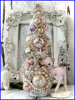 Shabby Pink Vintage Ornament, Bambi, Christmas Deer, Bottle Brush Tree, cottage
