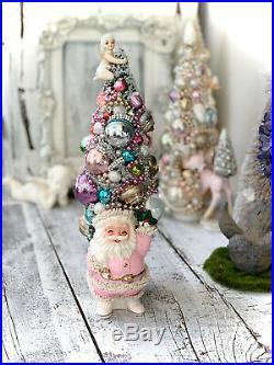 Shabby Pink Vintage Ornament, Pink Spaghetti Santa, Bottle Brush Tree, Angel