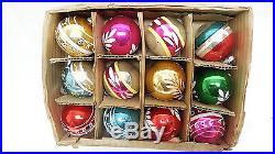 Shiny Brite VINTAGE Box of 12 Mixed Mercury Glass 2 1/4 Christmas Tree Ornaments