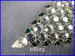 Signd Attruia Brooch Emerald Green Crystal Rhinestone Vintage Pin Christmas Tree