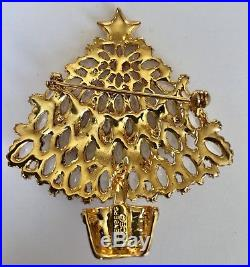 Signed Eisenberg Ice New Old Stock Large Vintage Christmas Tree Pin Brooch
