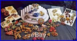 Signed Lot Antique/vintage Austria Floral Rhinestone Christmas Tree 80 +-pieces