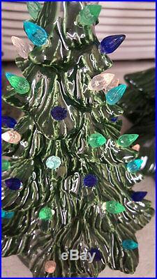 Small VINTAGE style ceramic Christmas tree, 9.5 tall, Ready to light