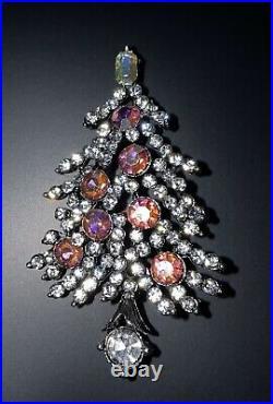Sparkling Vintage Signed Lisner Pink AB Rhinestone Christmas Tree Pin