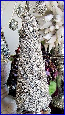 Statuesque Vtg Solid Rhinestone Jewelry Cone Christmas
